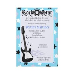 ROCK STAR 5x7 Rocker Baby Shower Invitation by allpetscherished