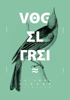 poster design inspiration graphic designers Vog el frei (love the bold type in contrast to the delicate line work + monochrome colours- great stuff) Graphisches Design, Cover Design, Print Design, Graphic Design Posters, Graphic Design Typography, Cool Poster Designs, Typo Design, Design Logo, Graphic Designers