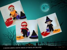 CARON® SIMPLY SOFT® DRESS UP TRICK OR TREATER - Kids love to dress up, especially at Halloween, and one of the hardest decisions they have to make all year is what costume they'll wear for the big night! This little amigurumi kid comes with three options: a witch (or wizard), a superhero, or a jack o'lantern. Dress him or her up and put the little treat bag into place for some pretend trick or treating.