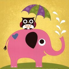 Elephant and Owl with Umbrella