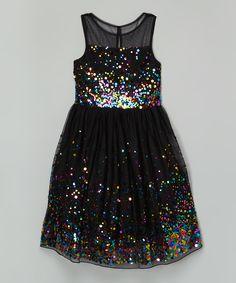 Speechless Black Rainbow Sequin A-Line Dress | zulily