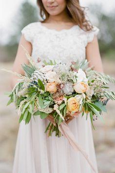 bouquet with artichoke - photo by Tamara Gruner Photography http://ruffledblog.com/organic-blush-wedding-inspiration #weddingbouquet #bouquets