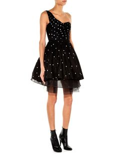 One-shoulder polka-dot tulle dress | Saint Laurent | MATCHESFASHION.COM