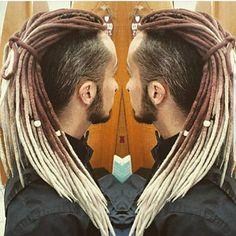 Wool ombre double ended dreadlocks DE dreads Black Men Hairstyles, Dreadlock Hairstyles, Haircuts For Men, Braided Hairstyles, Dreadlock Mohawk, Dreadlocks, Wool Dreads, Hair Brained, Brown To Blonde