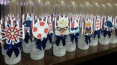 Tubetes personalizados do ursinho marinheiro, super tendência para festa infantil e chá de bebê, trabalhamos com diversas cores e modelos.  Venha conferir!!    Altura: 13.00 cm  Largura: 3.00 cm