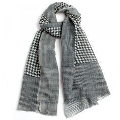 Pañuelo gris lana-algodón complementos 70 x 180 cm