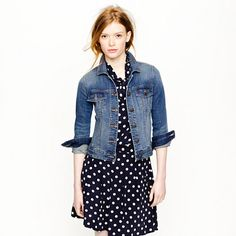 Stretch denim jacket with polka dots