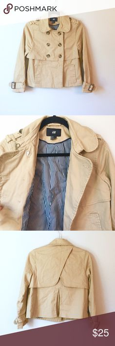H&M Khaki Jacket This H&M jacket is perfect for Fall. It's a rich Khaki color with a beautiful, silky, navy and white striped liner. I love the back of this jacket and the buckles at the wrists. It's a size 6 or Small. It comes with three spare buttons and is in great condition. Reasonable offers welcome and don't forget to bundle for a discount! Xoxo -J H&M Jackets & Coats