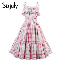 Sisjuly women vintage dress 1950s luxury plaid sleeveless retro ruffle collar dresses summer female multi color party dresses  -in Dresses from Women's Clothing & Accessories on Aliexpress.com | Alibaba Group