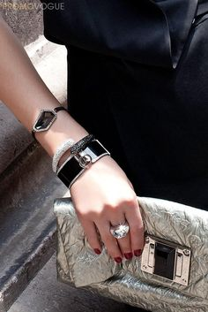 @Vogue México has #banglemania, stacking monochrome Swarovski bracelets from the #SecretTreasures collection for easy to wear glamour. Pictures by Germán Nájera
