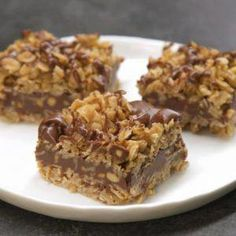 No-Bake Chocolate Oat Bars. Only 10 mins of prep and no oven. Easy No-Bake Chocolate Oat Bars - Need a sweet treat that doesn't require heat? Try our No-Bake Chocolate Oat Bars! This simple delight whips up quickly and mixes crunch with chocolate taste. Peanut Butter Oatmeal Bars, Chunky Peanut Butter, No Bake Oatmeal Bars, Oatmeal Squares, Butter Pecan, Lemon Butter, Peanut Butter Delight Recipe, Peanut Butter Dessert Recipes, Cream Butter