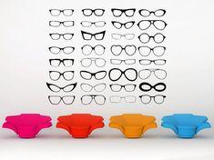 Eye Glasses, Four Eyes, Glasses- Decal, Sticker, Vinyl, Wall, Home, Optometrist, Doctor Decor via Etsy