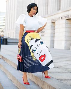 Women Pleated Skirt Cartoon Summer Vintage Character Letter Print High Waist MidCalf Length Skirts Big Swing Skirt Size S Color Color 1 African Fashion Dresses, Fashion Outfits, Fashion Skirts, Dress Fashion, Mode Chic, Pleated Midi Skirt, Online Clothing Stores, Vintage Skirt, Skirt Outfits