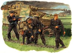 Panzer IV and crew, battle of Kursk. Illustration by Ronald Volstad ( one of the best military illustrators! Military Love, Military Art, Military History, German Soldiers Ww2, German Army, Luftwaffe, Eastern Front Ww2, Ww2 Uniforms, German Uniforms