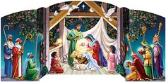 Visiting the Manger Advent Calendar by Randy Wollenmann | Free Standing Religious<br>Advent Calendars | Vermont Christmas Co. VT Holiday Gift Shop