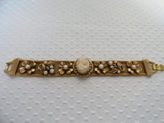 Vintage Florenza Bracelet with Faux Cameo and by BBGIMAGINATIONS, $85.00