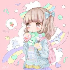 ✮ ANIME ART ✮ pastel. . .fairy kei fashion. . .sweater. . .scarf. . .backpack.. .ponytail. . .hair ribbons. . .rainbows. . .rabbits. . .cute. .chibi. . .kawaii