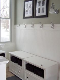 Mud room idea. Use beadboard with hooks.