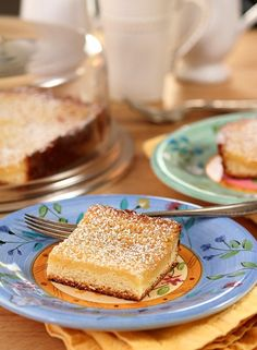 Real St. Louis Gooey Butter Cake has a yeast cake on the bottom and a butter and sugar 'gooey' filling on top. It's the real deal!