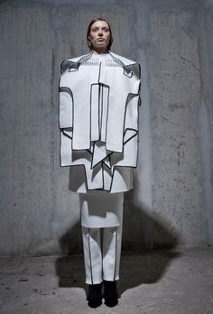 Wearable Sculpture with black edged, layered construct - fashion as art; experimental fashion design // Peter Movrin