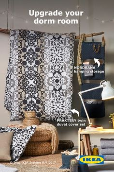 Make a statement in your dorm room or college space by upgrading the essentials to reflect your personality. From bohemian fabrics and flatwoven rugs to creative storage solutions, IKEA textiles have you covered for a stylish college dorm look.