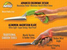 Radius, herramientas de jardinería ergonométricas, construidas con materiales de primera calidad. Su diseño permite mantener la posición natural de la muñeca al realizar trabajos de jardinería.
