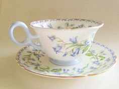 Shelley  Antique Tea Cup and Saucer Set, Blue Flower cup