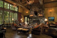 so warm and inviting. Love the corrugated tin on the ceiling. Guest Ranch Lodge, Whitefish, Montana, Hunter and Company Interior Design Cabin Homes, Log Homes, Mountain Dream Homes, Guest Ranch, Lodge Style, Cabin Design, Rustic Elegance, Rustic Style, Winter House