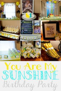 """Last Sunday we had a great time celebrating Maddox's 1st birthday! I've known I was going to do this theme for quite some time now. Since Maddox was a baby I would sing """"You Are My Sunshine"""" to him after he got out of the bathtub. He would lay his head on my shoulder and listen to me for what seemed like 10 minutes. It"""