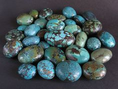 Posted as turquoise beads from Nepal, these are most likely Chinese turquoise from mines in Hubei Province, China. The shape is commonly called Tibetan style flat and oval shape.