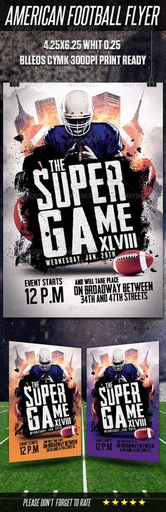 #American #Football #Flyer Template - Sports Events Download here: https://graphicriver.net/item/american-football-flyer-template/6536462?ref=alena994