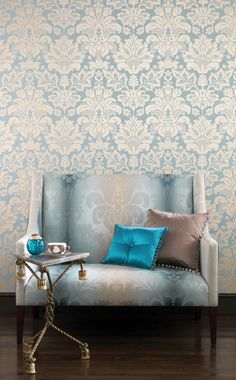 Campbell Damask wallpaper by Nina Campbell distributed by Osborne & Little.