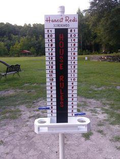 Corn hole scoreboard (made by a friend)
