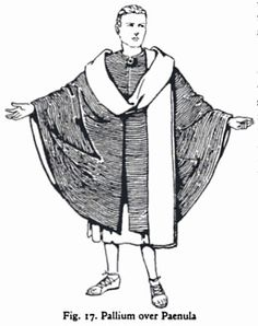 The roman paenula was a thick wool cloak that was semicircular in shape with a hood and closed in the front