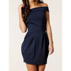 Sexy Solid Color Boat Neck Zippered Dress For Women, DEEP BLUE, M in Club Dresses | DressLily.com