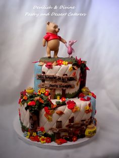 """Disney """"Winnie the Pooh & Piglet"""" Wedding Cake. Topper was provided by client. All other decor hand-made. Totes Adorbs!"""