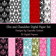 Chandelier and Chic Damask Papers