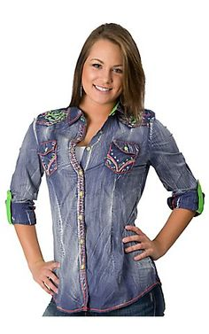 Roar® Women's Ameera Blue w/ Neon Embroidery & Crystals Long Sleeve Western Shirt | Cavender's Boot City