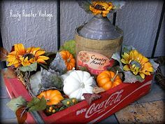 transformed Coke crate--to a lovely centerpiece Old Coke Crates, Coke Crate Ideas, Wood Crates, Autumn Display, Fall Displays, Porch Decorating, Decorating Ideas, Decor Ideas, Craft Ideas