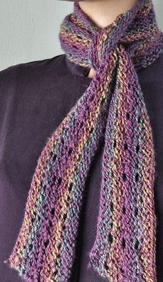 Mendocino Skinny Scarf - 1 ball - free knit scarf pattern  - Crystal Palace Yarns