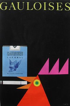 Christian Montone, GAULOISES cigarettes advertisement poster, 1960s