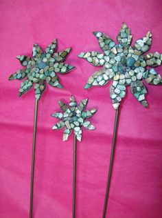 Set of three - Turquoise Shells on Metal Flower Garden or Yard Stake - handmade. $37.00, via Etsy.