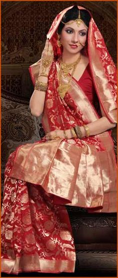 #Red Pure #Banarasi #Silk #Saree with #Blouse @ $260.36 | Shop Here: http://www.utsavfashion.com/store/sarees-large.aspx?icode=snn33b