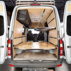 Adventure Wagon   Portland Oregon   Van Interior Kits and More! Mercedes Sprinter 4x4 Camper, Sprinter Van, Ford Transit Conversion, Camper Van Conversion Diy, Van Interior, Camper Interior, Cheap Campers, Campervan Bed, Campervan Ideas