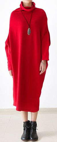 2016 New Christmas time stunning red dress plus size woolen dresses caftans