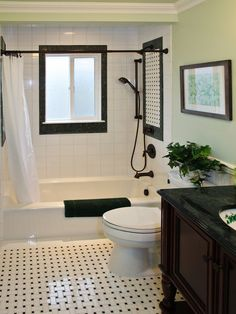 Black And White Tile Bathroom Showers Google Search