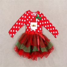 Baby Girls christmas red dress costume outfits for toddler little kids children infant christmas tutu dress(China (Mainland))