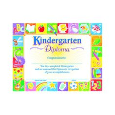 "Recognize a child's early school success. Bright, cheerful designs support learning experiences and provide a lasting keepsake. 8 1/2"" x 11"" size fits standard frame. 30 per pack."