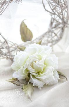 White Silk Flower Brooch, silk rose brooch, silk rose, hat accessories, dress or hair accessories. Handmade white silk flowers. AU by FeltSilkArtGift on Etsy