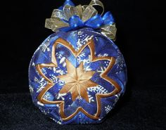 Gold Snowflake Handmade Quilted Ornaments by OrnamentsFromHome, $20.00 Folded Fabric Ornaments, Quilted Ornaments, Beaded Christmas Ornaments, Christmas Balls, Christmas Stuff, Christmas Decorations, Decorative Crafts, Ornament Crafts, Decor Crafts